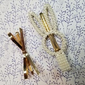 Hair clips bunny pearls and gold bow